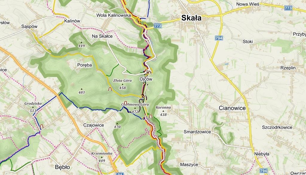 Ojcowski Park Narodowy Szlaki - mapa
