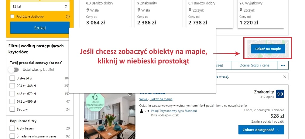 booking.com mapa