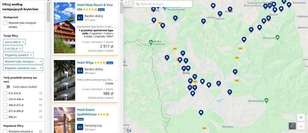 booking.com filtr mapa
