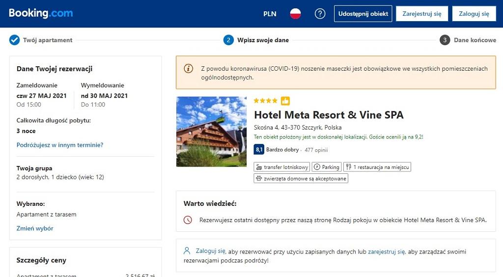 booking.com rezerwacja